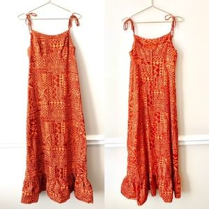 Liberty House of Hawaii Orange Tribal Maxi Dress